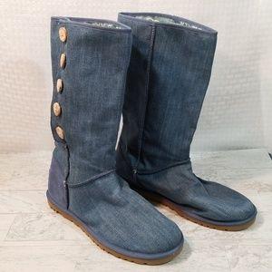 Ugg Australia Blue Denim Button Up Boots Sz 10